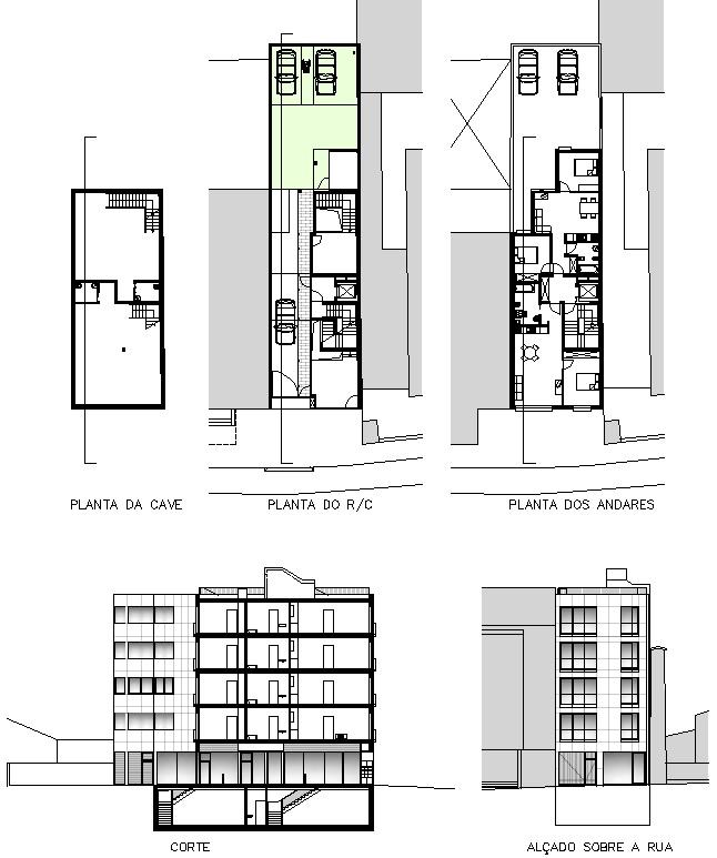 Peças desenhadas dos apartamentos e comércio no Campo Alegre