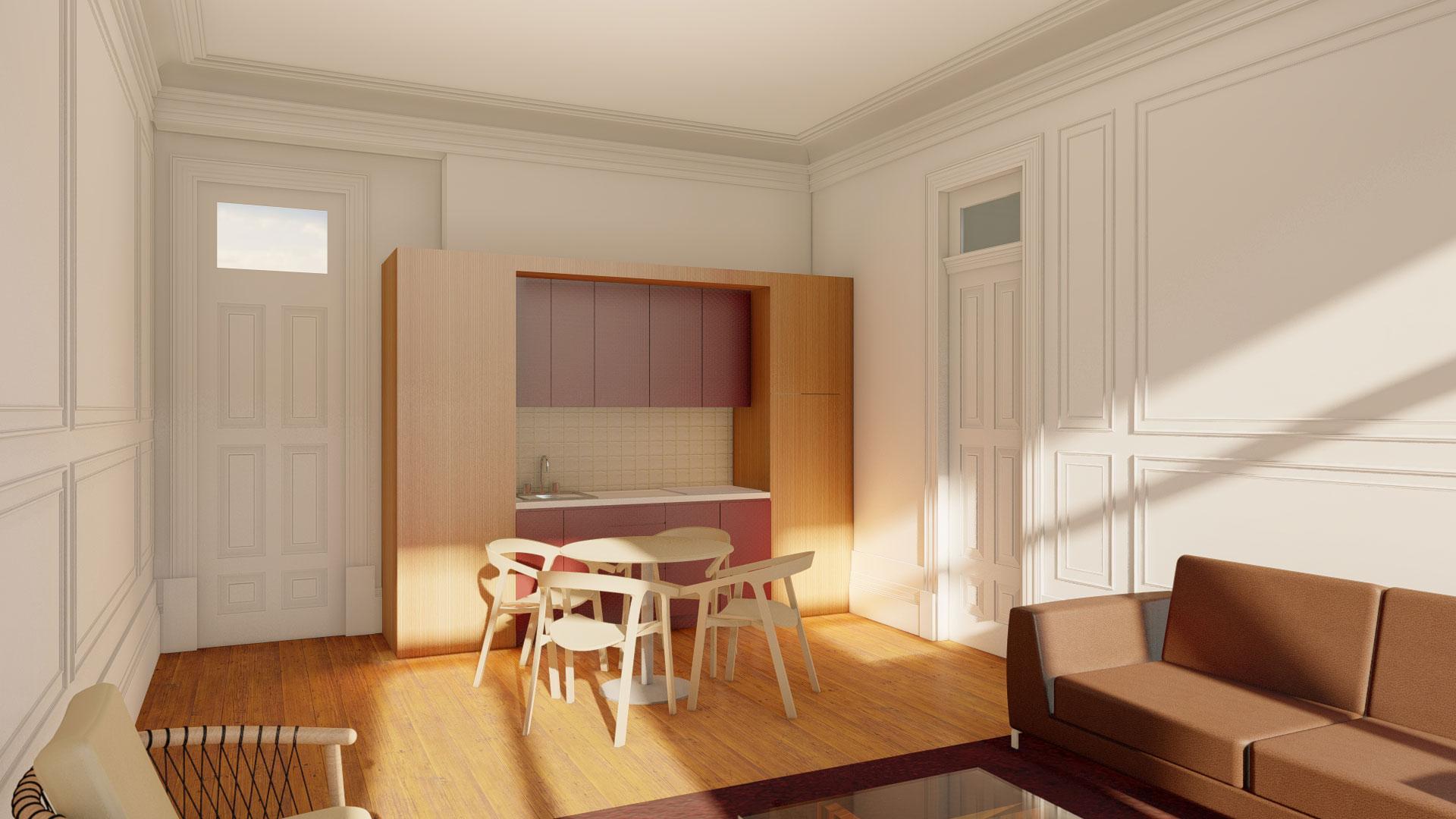 Cozinha integrada no ambiente clássico de uma sala de edifício remodelado do Porto do início do séc. XX.