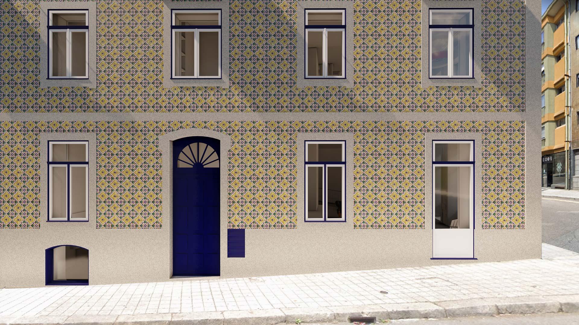 Fachada reabilitada do edifício em Aníbal Cunha convertido em 9 apartamentos turísticos - imagem virtual.