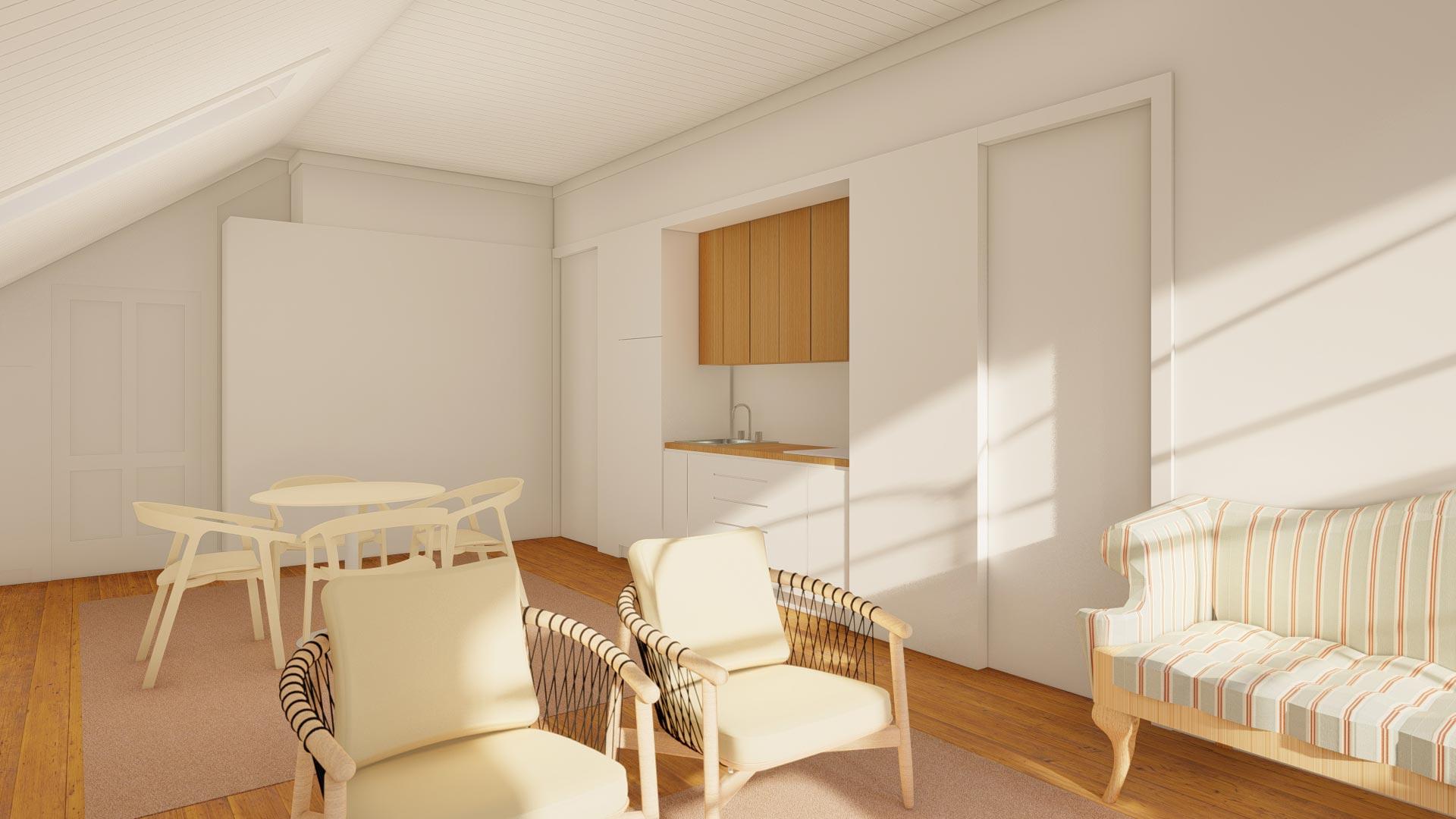 Sala comum co cozinha integrada em águas furtadas de prédio reabilitado, no Porto.