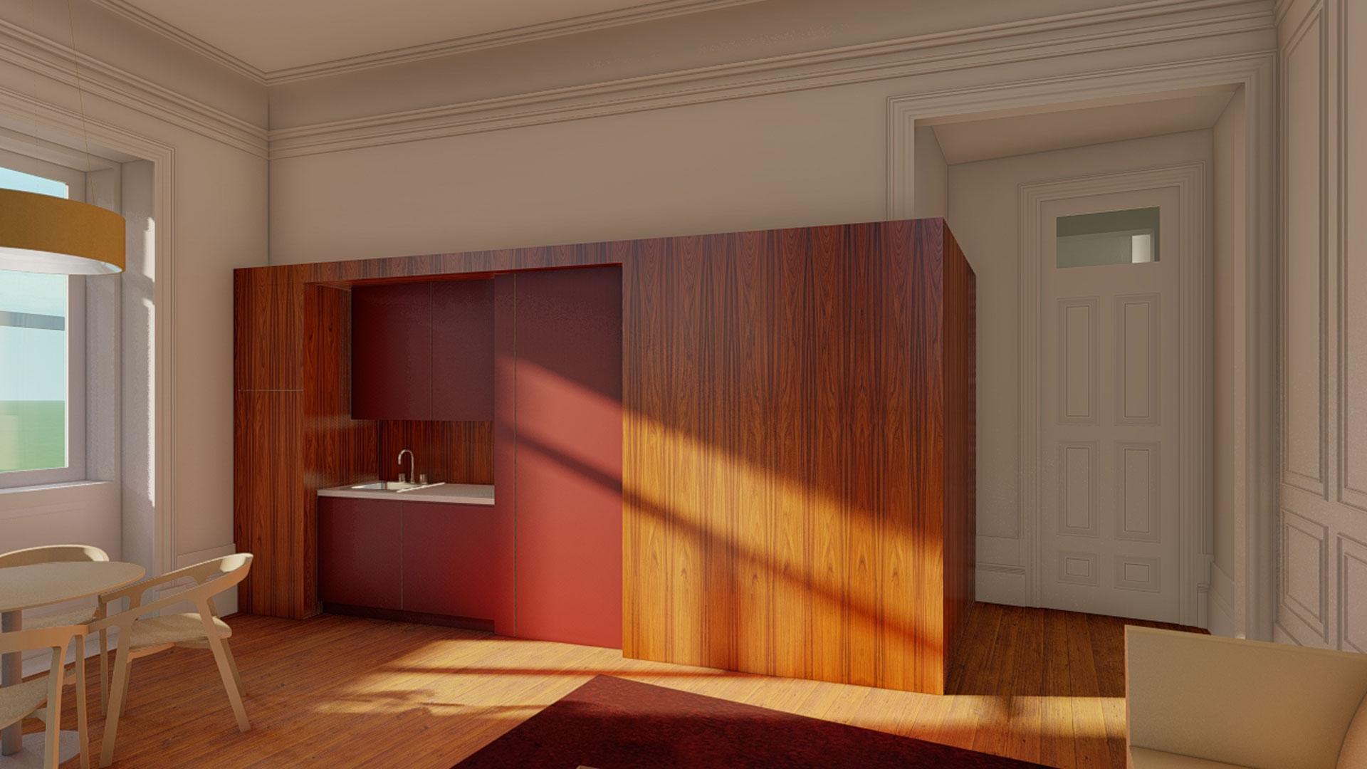 Cozinha integrada no ambiente de uma sala clássica das casa do Porto do início do séc. XX.