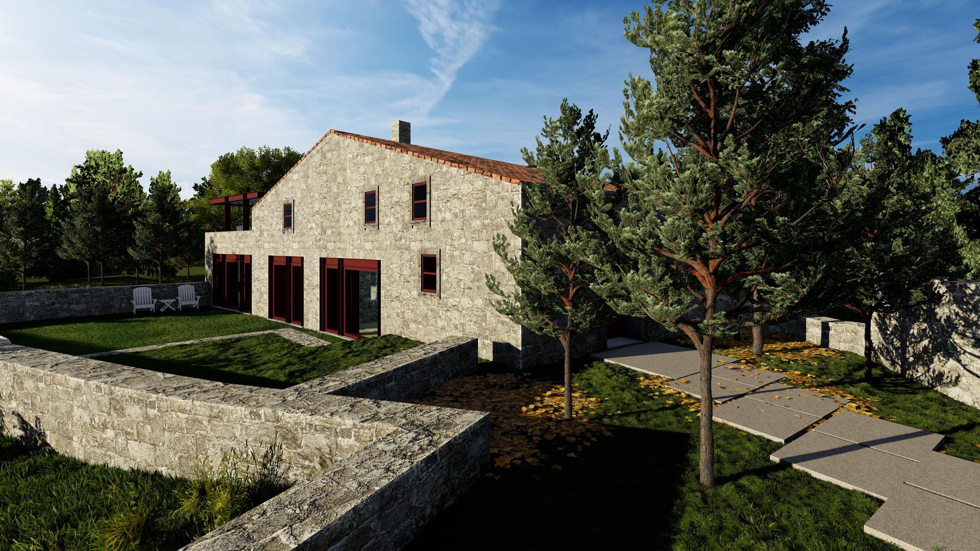 Vista da fachada sul do projecto de remodelação de casa rural, em Aldeia Nova, Miranda do Douro.