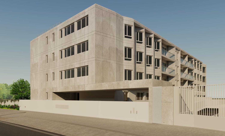 Edifício de apartamentos em Paranhos - Vista da fachada voltada à rua
