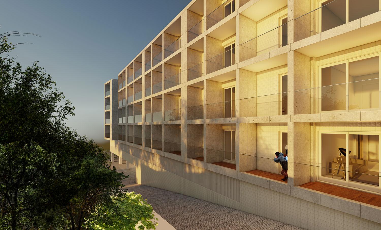 Vista da fachada poente do projecto de edifício de apartamentos em Paranhos.