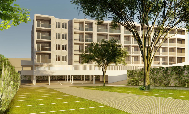 Edifício de apartamentos em Paranhos - perspectiva, a partir do parque de estacionamento