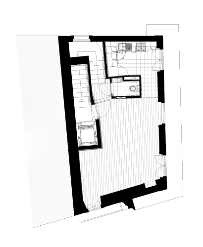Apartamentos e Comércio na Ribeira - R. S. João - Planta do 3º andar