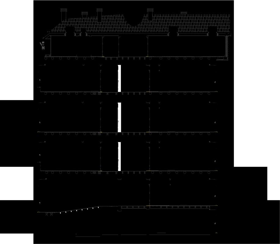 apartamentos na Boavista - Corte longitudinal do projecto de reabilitação e reconversão em apartamentos na Boavista