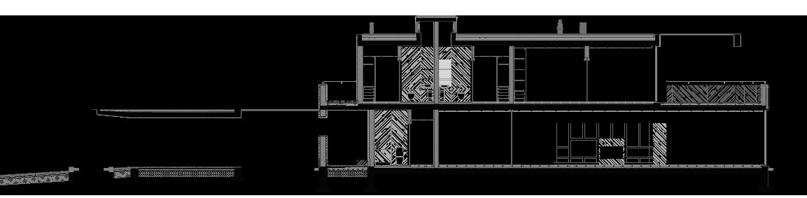 Corte longitudinal de moradia T4, em dois pisos, na Reguenga, Santo Tirso.