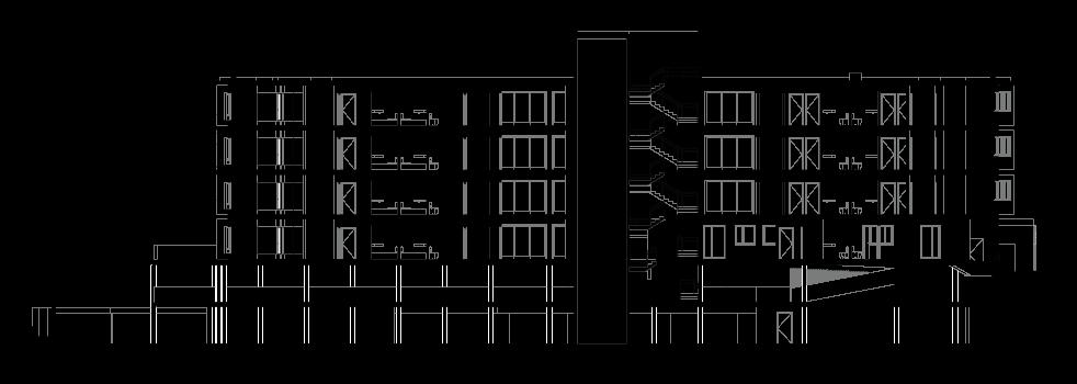 Edifício de apartamentos em Paranhos - Corte longitudinal