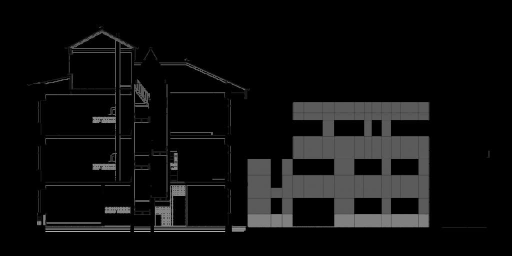Corte-alçado do edifício apartamentos no Bonjardim