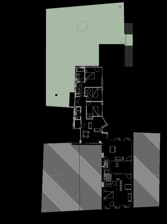 Planta do andar superior de edifício apartamentos no Bonjardim
