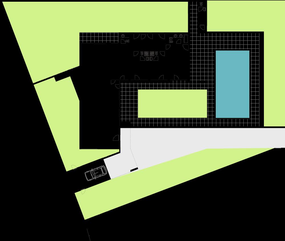 Casa em Barbeita - Planta de implantação e do piso térreo