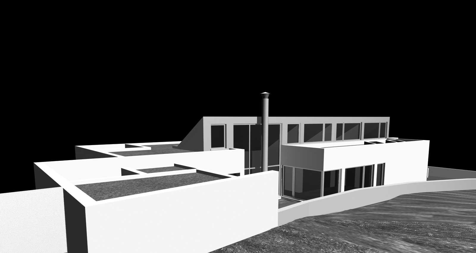 Projecto de casa em Crestuma - vista de sudoeste