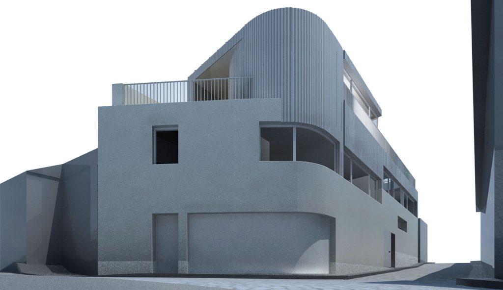 Casa na Foz Velha - perspetiva geral das fachadas
