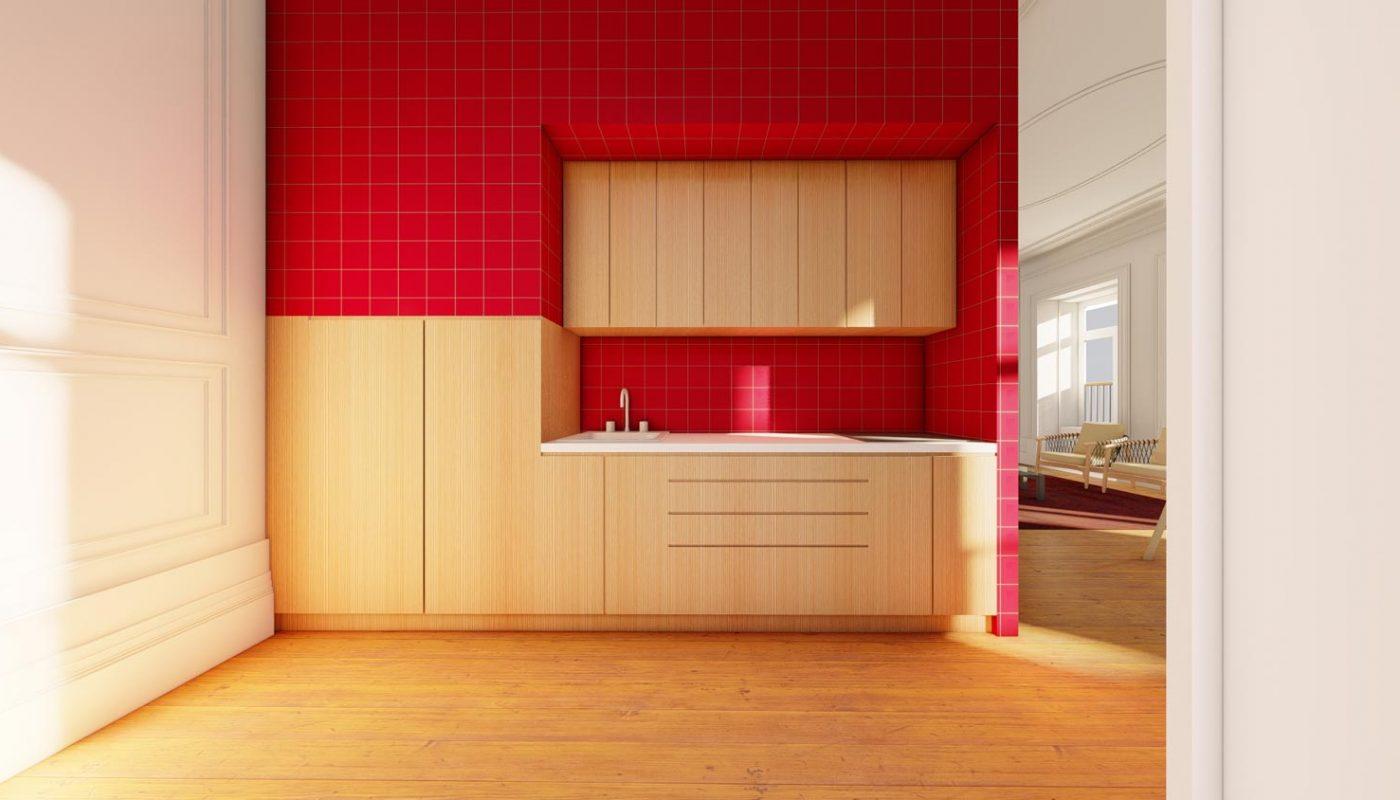 Apartamentos na Boavista - Vista da cozinha do T2 duplex