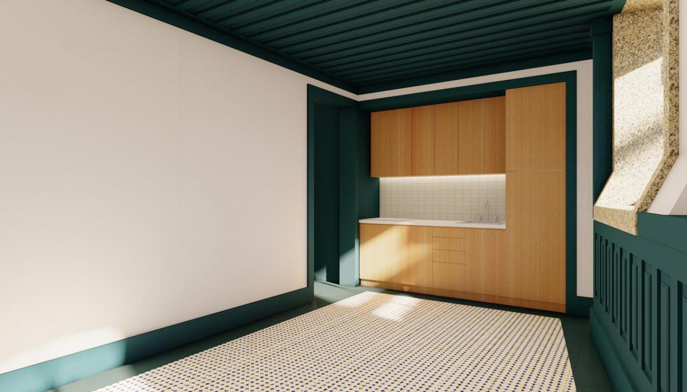 Apartamentos na Boavista - Vista da sala com os móveis de cozinha ao fundo