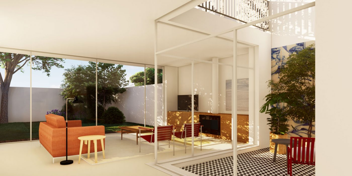 Casas em Nevogilde - Vista do pátio interior descoberto e da sala de estar com o jardim em fundo.