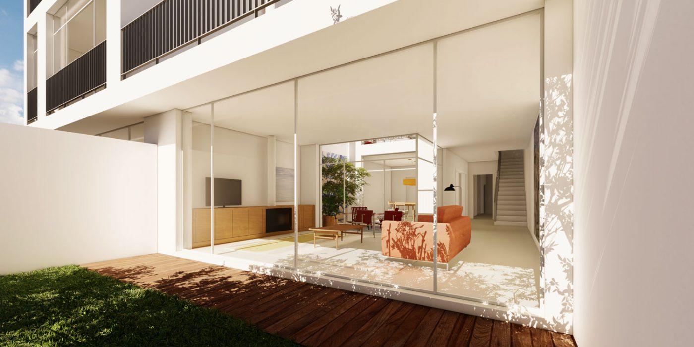 Casas em Nevogilde - Perspectiva do jardim sobre a sala de estar, o pátio interior descoberto e a sala de jantar de projecto em Nevogilde