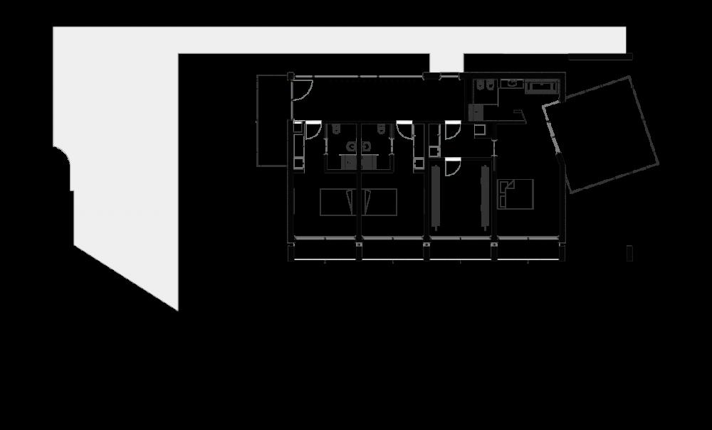 Planta do piso de quartos