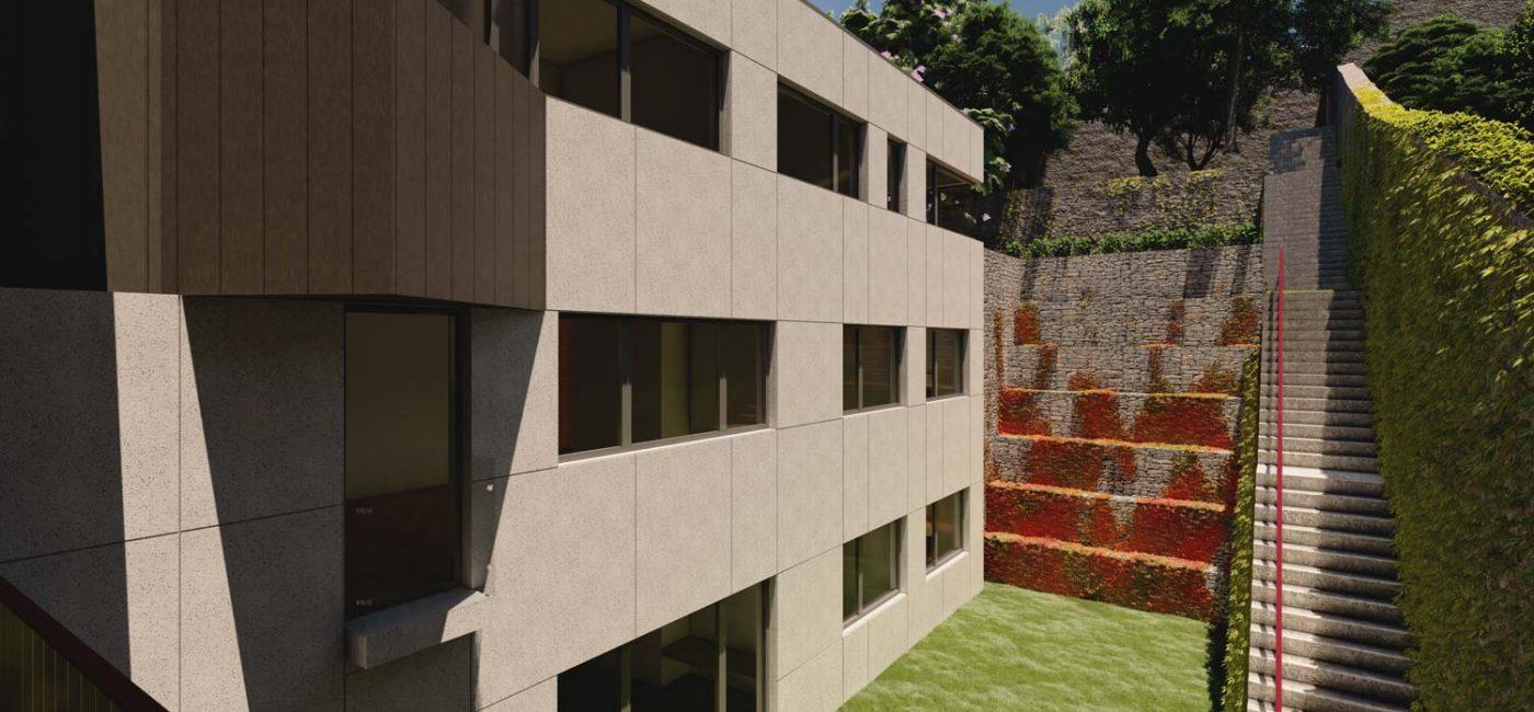Remodelação e ampliação no Bonjardim - vista sobre os socalcos do jardim em socalcos-